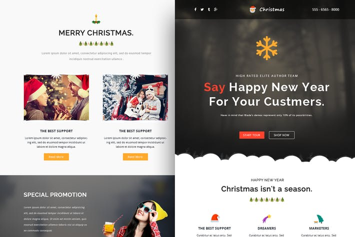 Thumbnail for Christmas Responsive Email Template + Online Build