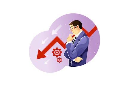 Sad businessman over the declining business chart