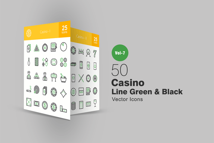 Thumbnail for 50 Casino Green & Black Line Icons