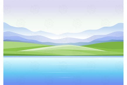 Mountains and lake - vector illustration