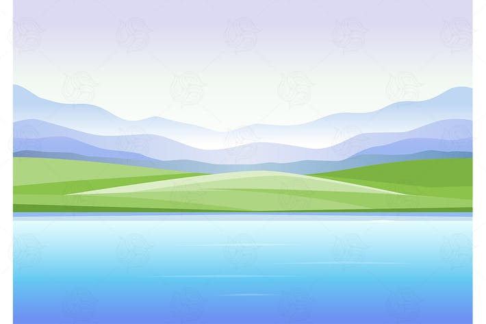 Thumbnail for Mountains and lake - vector illustration