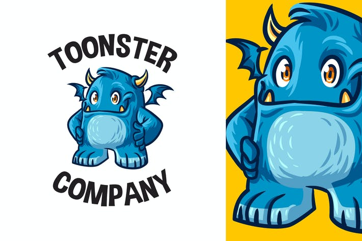 Thumbnail for Cartoon Cute Blue Monster Mascot Logo