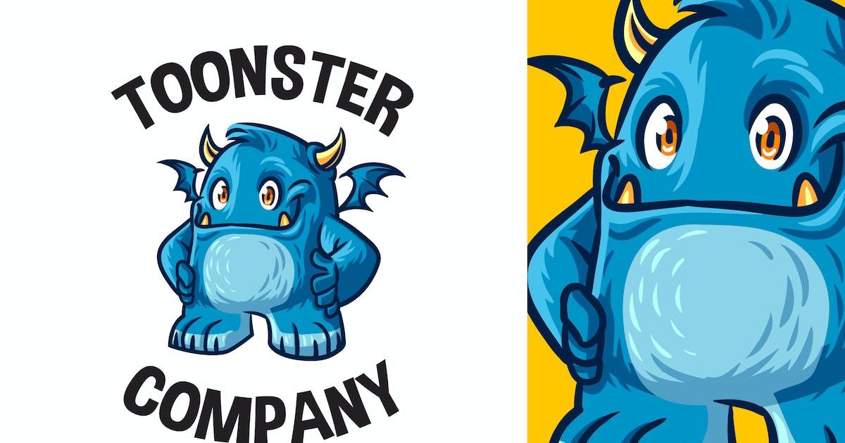Download Cartoon Cute Blue Monster Mascot Logo by Suhandi