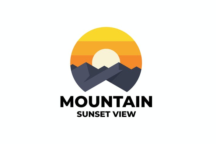 mountain sunset logo template
