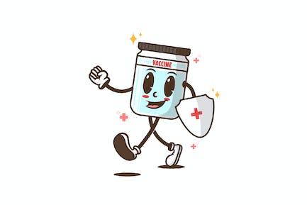Vaccine Mascot Retro Illustration