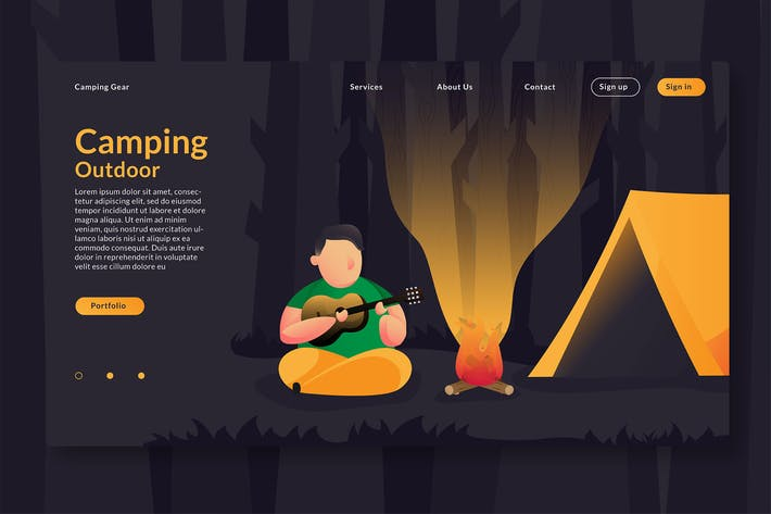 Thumbnail for Camping Outdoor - Web Header & Vector Template GR