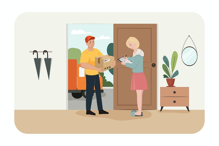 Thumbnail for Delivery service courier through smart phone
