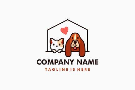 Dog Cat Pet House Love Logo