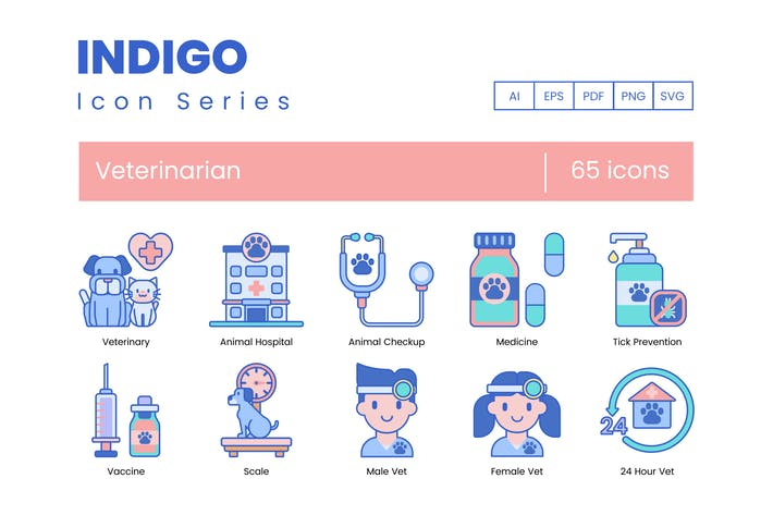 Thumbnail for 65 Veterinary Icons | Indigo Series