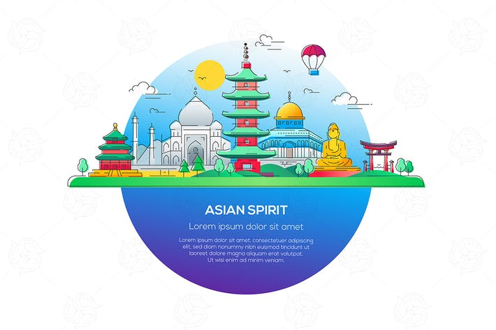 Thumbnail for Asian Spirit - vector line travel illustration