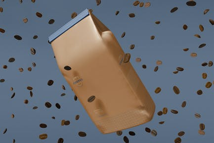Paper Bag With Coffee Beans Mockup