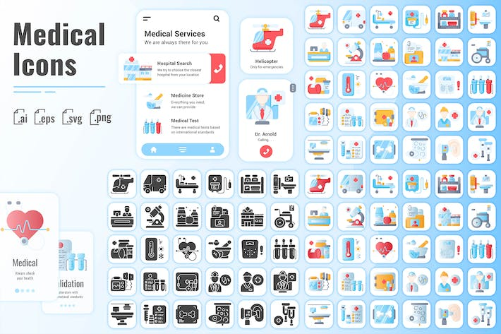 Thumbnail for 30 Fill Iconset Medical with 3 styles