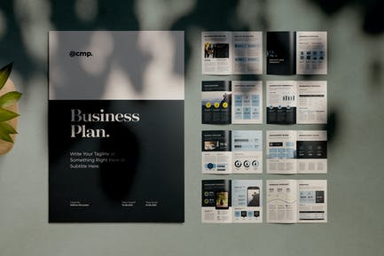 Business Plan Layout with Blue Accents