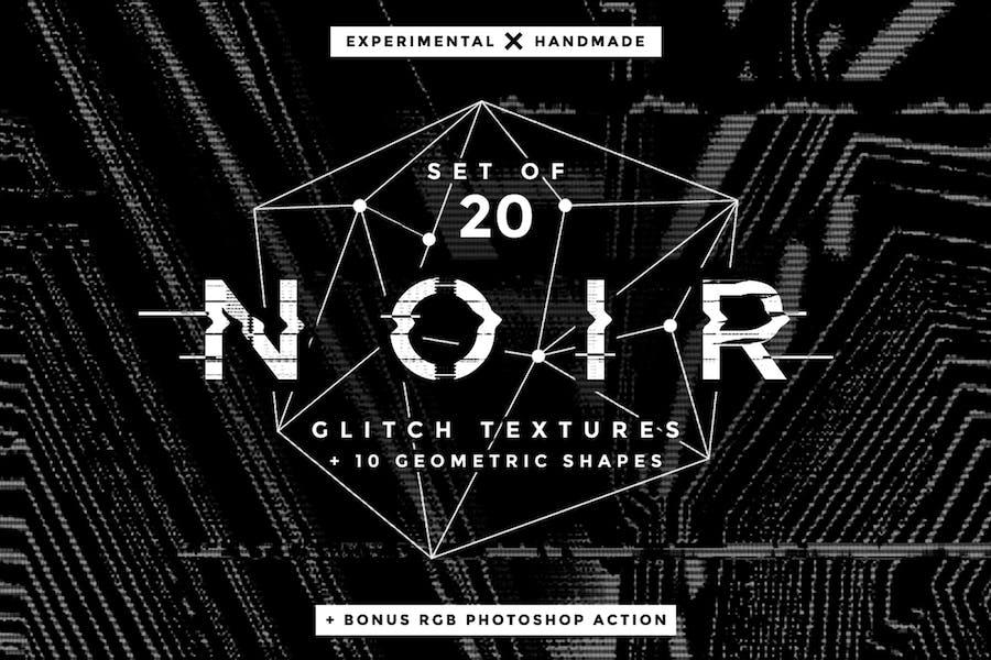 Noir Glitch Texturen und Formen