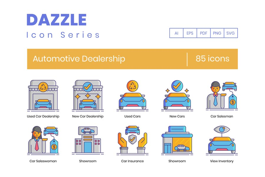 85 Automotive Dealership Icons - Dazzle Series