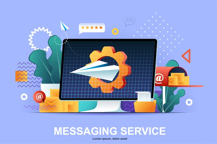 Thumbnail for Messaging Service Flat Concept Vector Illustration