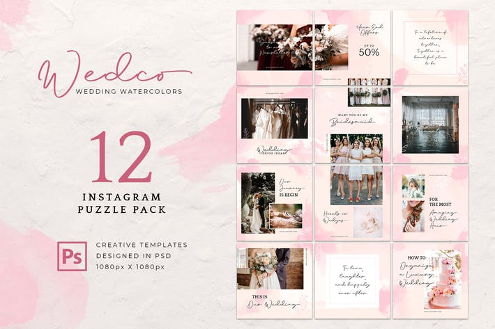 Thumbnail for Instagram Puzzle Wedding Watercolor