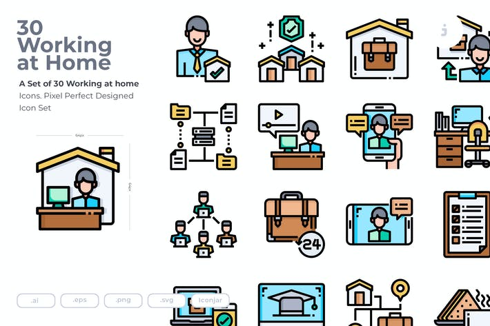 Thumbnail for 30 working at Home Icons