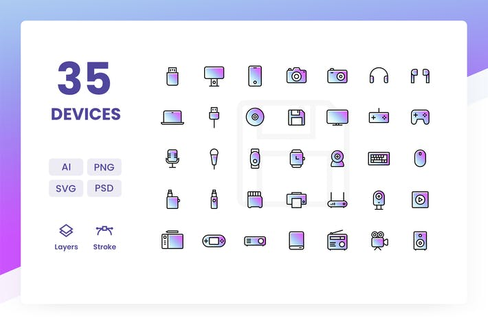 Thumbnail for Devices - Icons Pack (Gradient)