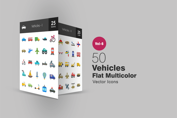 Thumbnail for 50 Vehicles Flat Multicolor Icons