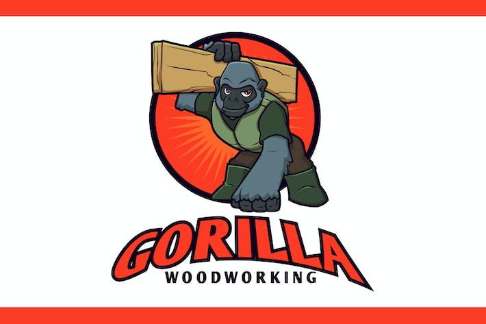 Cartoon Gorilla Woodworking Mascot Logo
