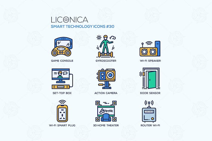 Thumbnail for Smart Technology - flat line design style icon set