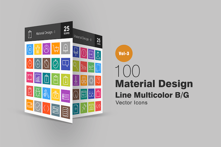 Thumbnail for 100 Material Design Line Multicolor Icons