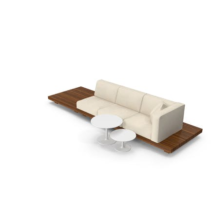 Outdoor Teak Platform Lounge Setting with Tables