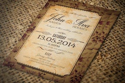 Vintage Post Card Wedding Invitation