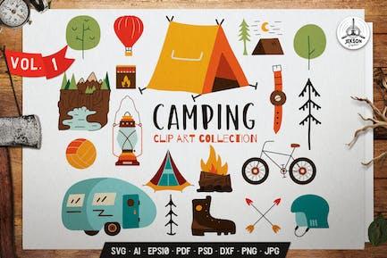 Reisen ClipArt-Kollektion. Camping Ikonen-Set