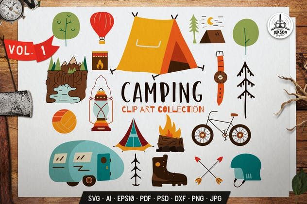Travel Clip Art Collection. Camping Icons Set