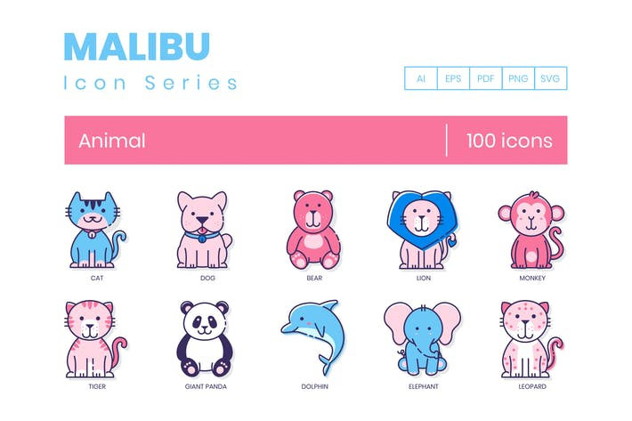 Thumbnail for 100 Animal Icons | Malibu Series