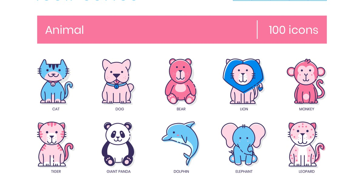 Download 100 Animal Icons   Malibu Series by Krafted