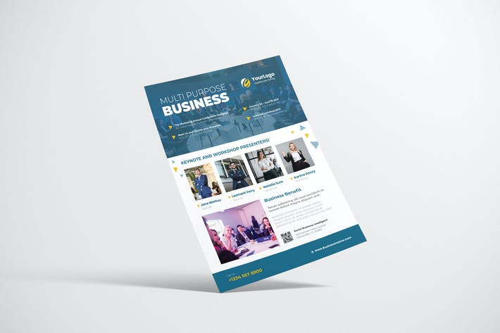 Thumbnail for Business Event Flyer Design mit blauer Farbe