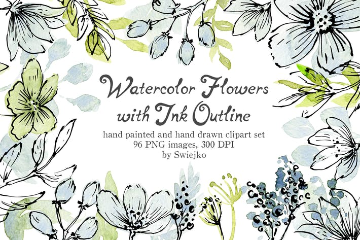 Thumbnail for Watercolor and Ink flowers