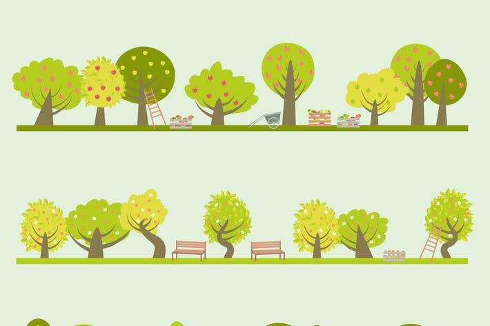 Thumbnail for Set of different fruit trees. Vector illustration