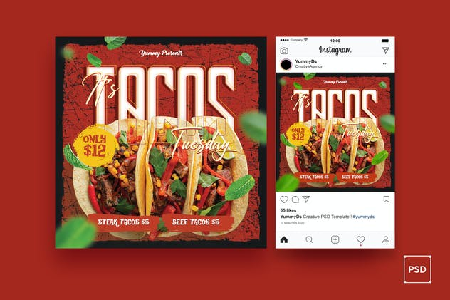 Tacos Square Flyer & Instagram Post