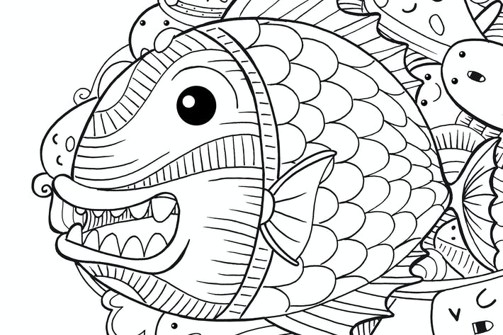 Cover Image For Piranha Fish Doodle