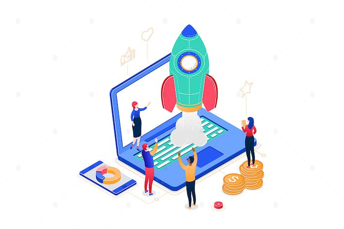 Thumbnail for Startup company - colorful isometric illustration