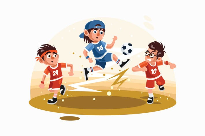 Thumbnail for Kids Playing Football Vector Illustration