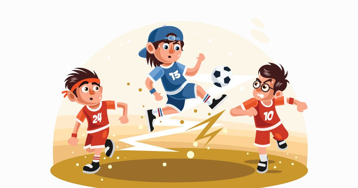 Download Kids Playing Football Vector Illustration by IanMikraz