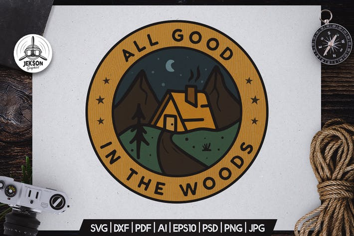 Thumbnail for Forest Camping Badge Vector Retro Graphic Logo