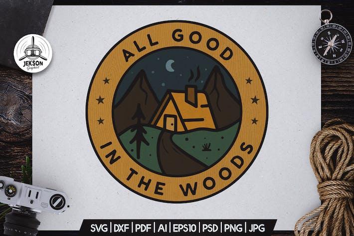 Thumbnail for Forest Camping-Abzeichen Vektor Retro Grafik Logo