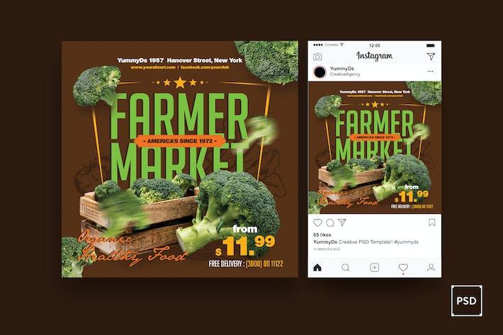 Farm Market Square dépliant & Post Instagram