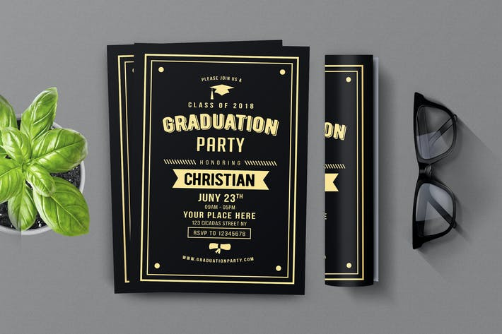 Thumbnail for Vintage Graduation Invitation