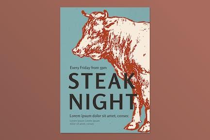 Steak Retro Restaurant Plakat Vorlage