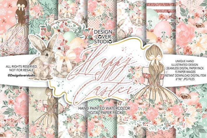 Thumbnail for Happy Easter Girl digital paper pack