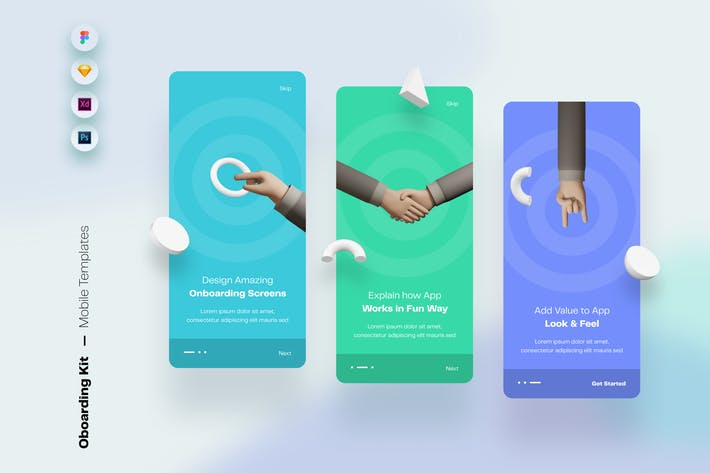 Thumbnail for Onboarding Mobile App UI Screens & Templates
