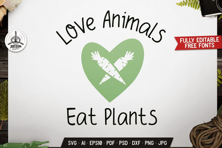 Thumbnail for Love Animals Vegan Logo Design Retro Vector Badge