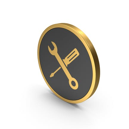 Gold Icon Screwdriver And Wrench